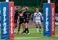 London Broncos celebrate the Abbas Miski try during the Betfred Championship match between London Broncos and Newcastle Thunder at The Rock, Rosslyn Park, London, England on 9 May 2021. Photo by Liam McAvoy.