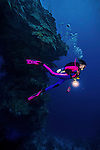 10 June 2014:: SCUBA diver Sally Herschorn explores Ghost Mountain off the North Shore of Grand Cayman Island. Located in the British West Indies in the Caribbean, the Cayman Islands are renowned for excellent scuba diving, snorkeling, beaches and banking.  Mandatory Credit: Ed Wolfstein Photo *** RAW (NEF) Image File Available ***