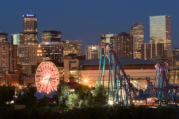Downtown skyline and Six Flags Amusement Park, Denver, Colorado, USA