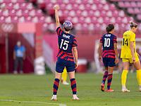 KASHIMA, JAPAN - AUGUST 5: Megan Rapinoe #15 of the USWNT celebrates her goal during a game between Australia and USWNT at Kashima Soccer Stadium on August 5, 2021 in Kashima, Japan.