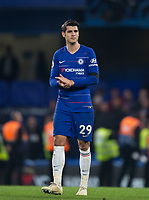 Álvaro MORATA of Chelsea at full time during the Premier League match between Chelsea and Crystal Palace at Stamford Bridge, London, England on 4 November 2018. Photo by Andy Rowland.<br /> .<br /> (Photograph May Only Be Used For Newspaper And/Or Magazine Editorial Purposes. www.football-dataco.com)