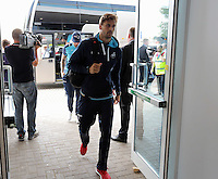 Pictured: Fernando Llorente of Swansea City arrives at the stadium Saturday 27 August 2016<br />