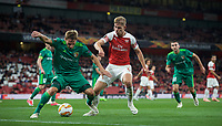 Ardin Dallku of Vorskla Poltava & Emile Smith-Rowe of Arsenal during the UEFA Europa League match group between Arsenal and Vorskla Poltava at the Emirates Stadium, London, England on 20 September 2018. Photo by Andrew Aleks / PRiME Media Images.