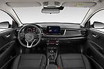 Stock photo of straight dashboard view of 2021 KIA Rio More 5 Door Hatchback Dashboard