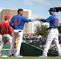 Luis Verdugo (left), 3rd base coach Will Venable (right) - Chicago Cubs 2020 spring training (Bill Mitchell)