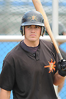 June 21, 2008: Catcher Mike Pierce (16) of the Frederick Keys, Carolina League affiliate of the Baltimore Orioles, prior to a game against the Potomac Nationals at G. Richard Pfitzner Stadium in Woodbridge, Va. Photo by:  Tom Priddy/Four Seam Images