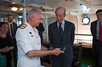 Pictured: Prince Edward (R) is shown around the ship. Saturday 18 May 2019<br /> Re: Prince Edward, Duke of Kent visits cruiser Georgios Averof at Palaio Faliro, Athens, Greece