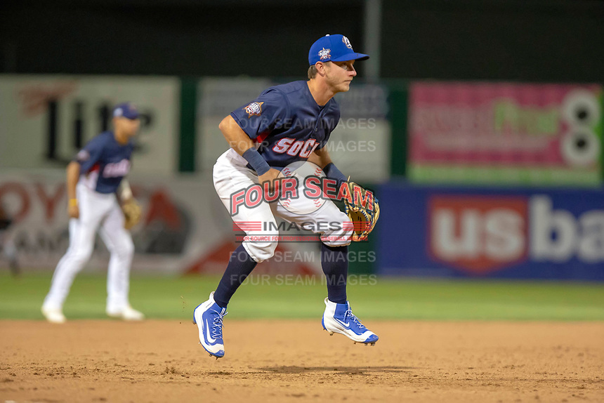 Rylan Bannon (4) of the Rancho Cucamonga Quakes in action against the North Division during the 2018 California League All-Star Game at The Hangar on June 19, 2018 in Lancaster, California. The North All-Stars defeated the South All-Stars 8-1.  (Donn Parris/Four Seam Images)