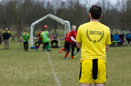 08 MAR 2015 - NOTTINGHAM, GBR - Snitch runner Jordan Niblock waits to be released onto the pitch during the 2015 British Quidditch Cup match between Keele Squirrels and Bristol Brizzlepuffs at Woollaton Hall and Deer Park in Nottingham, Great Britain (PHOTO COPYRIGHT © 2015 NIGEL FARROW, ALL RIGHTS RESERVED)