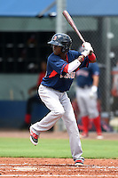 GCL Red Sox shortstop Jose Vinicio (60) at bat during a game against the GCL Rays on June 24, 2014 at Charlotte Sports Park in Port Charlotte, Florida.  GCL Red Sox defeated the GCL Rays 5-3.  (Mike Janes/Four Seam Images)