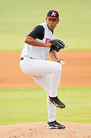 Kannapolis Intimidators starting pitcher Jefferson Olacio #39 in action against the Hagerstown Suns at CMC-Northeast Stadium on June 9, 2012 in Kannapolis, North Carolina.  The Suns defeated the Intimidators 11-6.  (Brian Westerholt/Four Seam Images)
