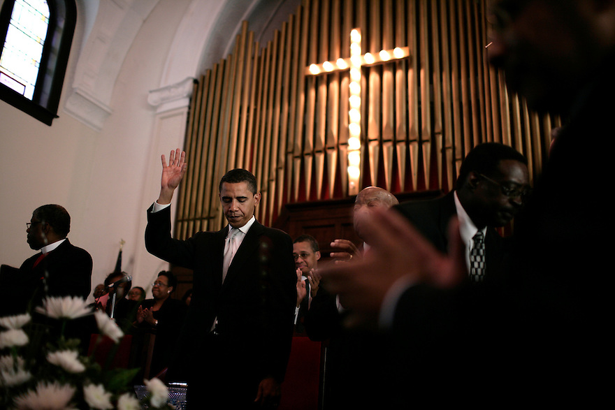 Presidential candidate Senator Barack Obama (D-IL) after speaking at a church service commemorating the 1965 Selma-Montgomery Voting Rights March at Brown Chapel African Methodist Episcopal Church in Selma, Alabama, March 4, 2007..Photo by Brooks Kraft/Corbis......