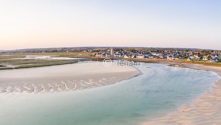 France, Manche, Cotentin, Cote des Isles, Portbail, village and the Havre de Portbail (aerial view) // France, Manche (50), Cotentin, Côte des Isles, Portbail, village et havre de Portbail à marée basse (vue aérienne)