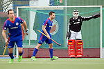 GER - Mannheim, Germany, March 19: During the 1. Bundesliga Herren hockey match between Mannheimer HC (blue) and Uhlenhorst Muehlheim (white) on March 19, 2016 at Mannheimer HC in Mannheim, Germany. Final score 1-1 (HT 0-0). (Photo by Dirk Markgraf / www.265-images.com) *** Local caption *** Andreas Spaeck #1 of Mannheimer HC