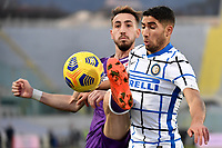 Gaetano Castrovilli of ACF Fiorentina and Achraf Hakimi of FC Internazionale compete for the ball during the Italy Cup round of 16 football match between ACF Fiorentina and FC Internazionale at Artemio Franchi stadium in Firenze (Italy), January 13th, 2021. Photo Andrea Staccioli / Insidefoto