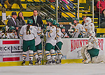 13 February 2015: University of Vermont Catamount Head Coach Jim Plumer discusses extra attacker strategy during a third period time out against the University of New Hampshire Wildcats at Gutterson Fieldhouse in Burlington, Vermont. The Lady Wildcats defeated Vermont 4-2 in the first game of their weekend Hockey East series. Mandatory Credit: Ed Wolfstein Photo *** RAW (NEF) Image File Available ***