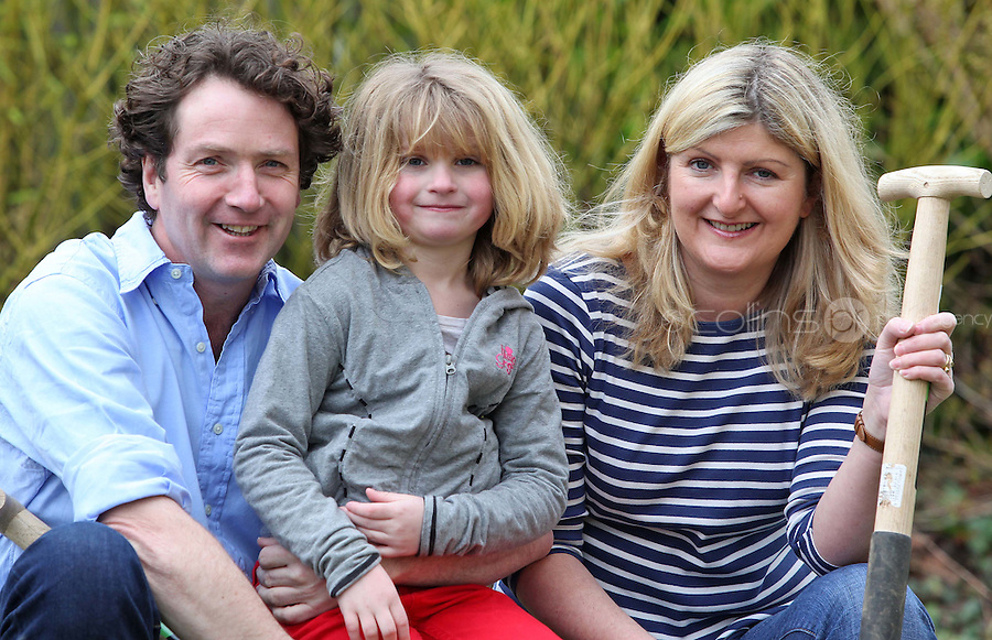 16/02/'11 Celebrity gardener, Diarmuid Gavin pictured at his home in Wicklow, Ireland with his wife Justine and their seven year old daughter, Eppie...Picture Colin Keegan, Collins, Dublin.