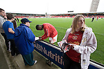 Crewe Alexandra 1 Aldershot 2, 09/09/2009. Gresty Road, League 2. Fans of Crewe Alexandra outside on the main stand collecting autographs from Crewe Alexandra players as they warm up prior to their League 2 fixture against Aldershot Town at the Alexandra Stadium. The visitors won by 2 goals to 1. Photo by Colin McPherson.