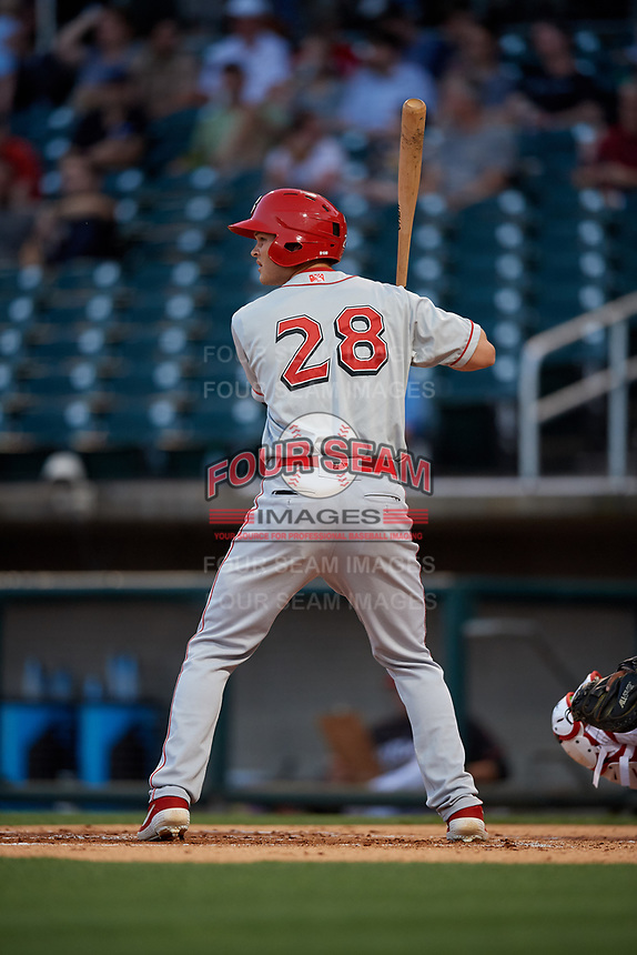 Chattanooga Lookouts Brantley Bell (28) at bat during a Southern League game against the Birmingham Barons on May 2, 2019 at Regions Field in Birmingham, Alabama.  Birmingham defeated Chattanooga 4-2.  (Mike Janes/Four Seam Images)