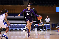DURHAM, NC - NOVEMBER 17: Veronica Burton #12 of Northwestern University dribbles the ball during a game between Northwestern University and Duke University at Cameron Indoor Stadium on November 17, 2019 in Durham, North Carolina.