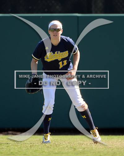 Michigan Wolverines Softball outfielder Lyndsay Doyle (11) during a game against the Bethune-Cookman on February 9, 2014 at the USF Softball Stadium in Tampa, Florida.  Michigan defeated Bethune-Cookman 12-1.  (Copyright Mike Janes Photography)
