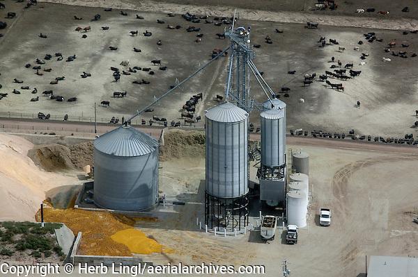 aerial photograph grain storage bins cattle feedlot Nebraska