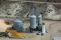aerial photograph grain storage bins cattle feedlot Nebraska
