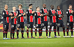 PSG players pay their respects to a Marseille fan who recently passed away before the 15eme journée of the French Ligue 1 match between Olympique Marseille and Paris St Germain at the Stade Velodrome on November 27th, 2011 in Marseille, France. OM beat their rivals 3-0 in Le Clasico.