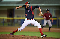 Batavia Muckdogs relief pitcher Brady Puckett (49) delivers a pitch during a game against the Mahoning Valley Scrappers on September 5, 2017 at Dwyer Stadium in Batavia, New York.  Mahoning Valley defeated Batavia 4-3.  (Mike Janes/Four Seam Images)