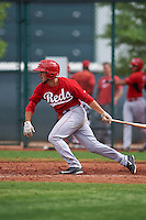 Cincinnati Reds Blake Trahan (7) during an instructional league game against the Cleveland Indians on October 17, 2015 at the Goodyear Ballpark Complex in Goodyear, Arizona.  (Mike Janes/Four Seam Images)