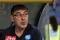 Calcio, Serie A: Roma, stadio Olimpico, 20 settembre 2017.<br /> Napoli's coach Maurizio Sarri waits for the start of the Italian Serie A football match between Lazio and Napoli at Rome's Olympic stadium, September 20, 2017.<br /> UPDATE IMAGES PRESS/Isabella Bonotto