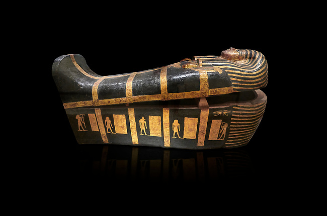 Acient Egyptian sacophagus of Kha - outer coffin from  tomb of Kha, Theban Tomb 8 , mid-18th dynasty (1550 to 1292 BC), Turin Egyptian Museum. black background
