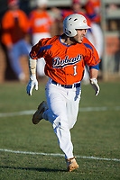 Drew Tiano (1) of the Glenn Bobcats hustles down the first base line against the Mallard Creek Mavericks at Dale Ijames Stadium on March 22, 2017 in Kernersville, North Carolina.  The Bobcats defeated the Mavericks 12-2 in 5 innings.  (Brian Westerholt/Four Seam Images)