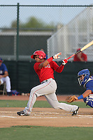 Jeyson Sanchez (16) of the AZL Angels bats during a game against the AZL Rangers at the Texas Rangers Spring Training Complex on July 1, 2015 in Surprise, Arizona. Rangers defeated the Angels, 3-1. (Larry Goren/Four Seam Images)