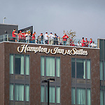 7 October 2016: Baseball Fans enjoy a view of the ballpark from atop the roof of a new hotel, the Hampton Inn and Suites, prior to the first game of the NLDS between the Washington Nationals and the Dodgers at Nationals Park in Washington, DC. The Dodgers edged out the Nationals 4-3 to take the opening game of their best-of-five series. Mandatory Credit: Ed Wolfstein Photo *** RAW (NEF) Image File Available ***