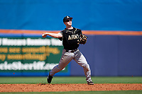 Army West Point second baseman Josh White (3) throws to first base during a game against the Michigan Wolverines on February 18, 2018 at First Data Field in St. Lucie, Florida.  Michigan defeated Army 7-3.  (Mike Janes/Four Seam Images)