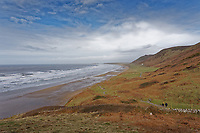 Pictured: Rhossili beach. Tuesday 18 February 2020<br /> Re: General view of Rhossili in the Gower Peninsula near Swansea, Wales, UK.