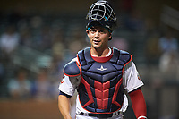 Salt River Rafters catcher Ben Rortvedt (3), of the Minnesota Twins organization, walks off the field between innings of an Arizona Fall League game against the Mesa Solar Sox on September 27, 2019 at Salt River Fields at Talking Stick in Scottsdale, Arizona. Salt River defeated Mesa 6-1. (Zachary Lucy/Four Seam Images)