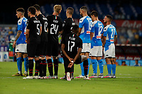 during the  italian serie a soccer match,  SSC Napoli - AC Milan       at  the San  Paolo   stadium in Naples  Italy , July 12, 2020