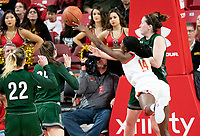 COLLEGE PARK, MD - DECEMBER 8: Diamond Miller #14 of Maryland tries to keep the ball in play during a game between Loyola University and University of Maryland at Xfinity Center on December 8, 2019 in College Park, Maryland.