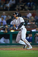 Salt River Rafters Noel Cuevas (8), of the Colorado Rockies organization, during a game against the Scottsdale Scorpions on October 20, 2016 at Scottsdale Stadium in Scottsdale, Arizona.  Scottsdale defeated Salt River 4-1.  (Mike Janes/Four Seam Images)