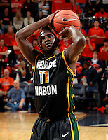 CHARLOTTESVILLE, VA- DECEMBER 6: Vertrail Vaughns #11 of the George Mason Patriots shoots a free throw during the game on December 6, 2011 against the Virginia Cavaliers at the John Paul Jones Arena in Charlottesville, Virginia. Virginia defeated George Mason 68-48. (Photo by Andrew Shurtleff/Getty Images) *** Local Caption *** Vertrail Vaughns
