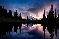 Reflections from Tipsee Lake and the. surrounding area at Mount Rainier National Park located in Washington. Photo/Andrew Shurtleff Photography, LLC