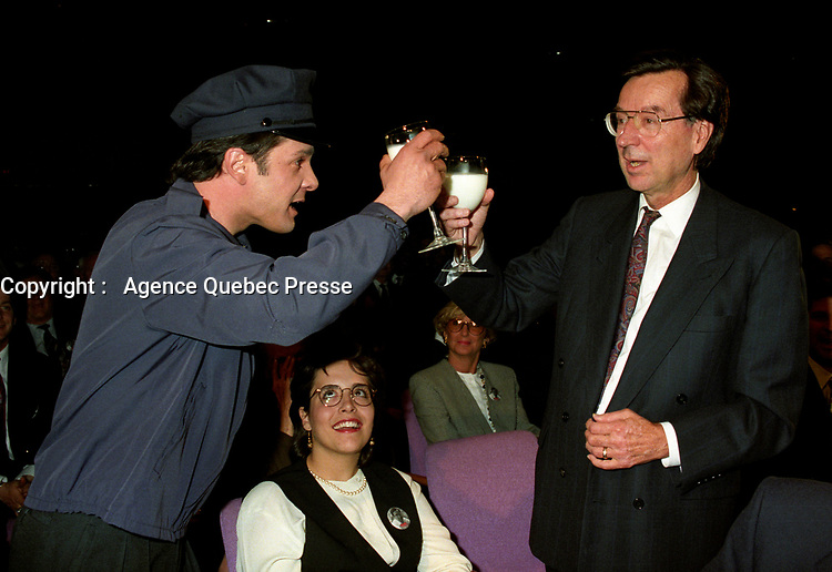 Montreal (Qc) Canada  file Photo - april 13 1994 - Quebec Liberal Party convention, Tribute to  Robert Bourassa (R)