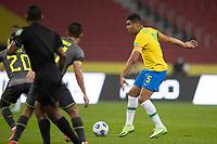 4th June 2021; Beira-Rio Stadium, Porto Alegre, Brazil; Qatar 2022 qualifiers; Brazil versus Ecuador;  Casemiro of Brazil passes across Sebas Méndez of Ecuador