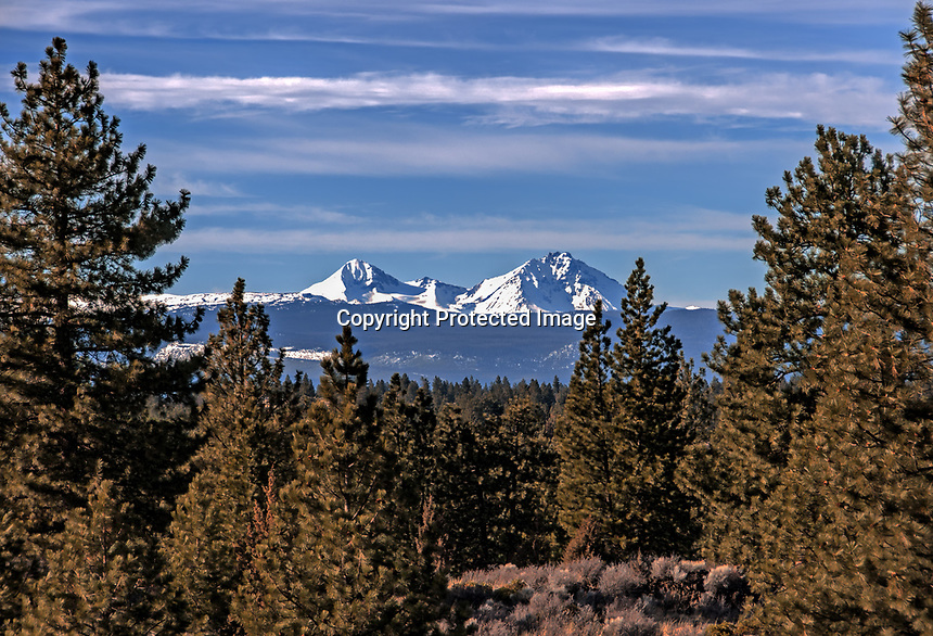 The Three Sisters Mountains seen in the winter from the edge of the Deschutes NationaL Forest, Oregon.