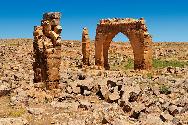 """Pictures of the the ruins of the 8th century University of  Harran, south west Anatolia, Turkey.  Harran was a major ancient city in Upper Mesopotamia whose site is near the modern village of Altınbaşak, Turkey, 24 miles (44 kilometers) southeast of Şanlıurfa. The location is in a district of Şanlıurfa Province that is also named """"Harran"""". Harran is famous for its traditional 'beehive' adobe houses, constructed entirely without wood. The design of these makes them cool inside. 50"""