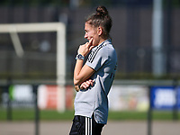 Head coach Audrey Demoustier of Belgium during the warm up before an international friendly female soccer game between the national teams of Belgium , called the Red Flames U17 and the Netherlands on Wednesday 8th of September 2020  in Kalmthout , Belgium . PHOTO SPORTPIX.BE | SPP | SEVIL OKTEM