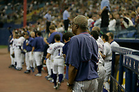 Baseball team Montreal's Expos play their last game in Montreal after beeing bought and transfered by Jeffrey Lorria.<br /> <br /> photo : (c)  Images Distribution
