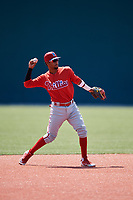 Philadelphia Phillies Jonathan Guzman (8) before a Minor League Extended Spring Training game against the Pittsburgh Pirates on May 3, 2018 at Pirate City in Bradenton, Florida.  (Mike Janes/Four Seam Images)